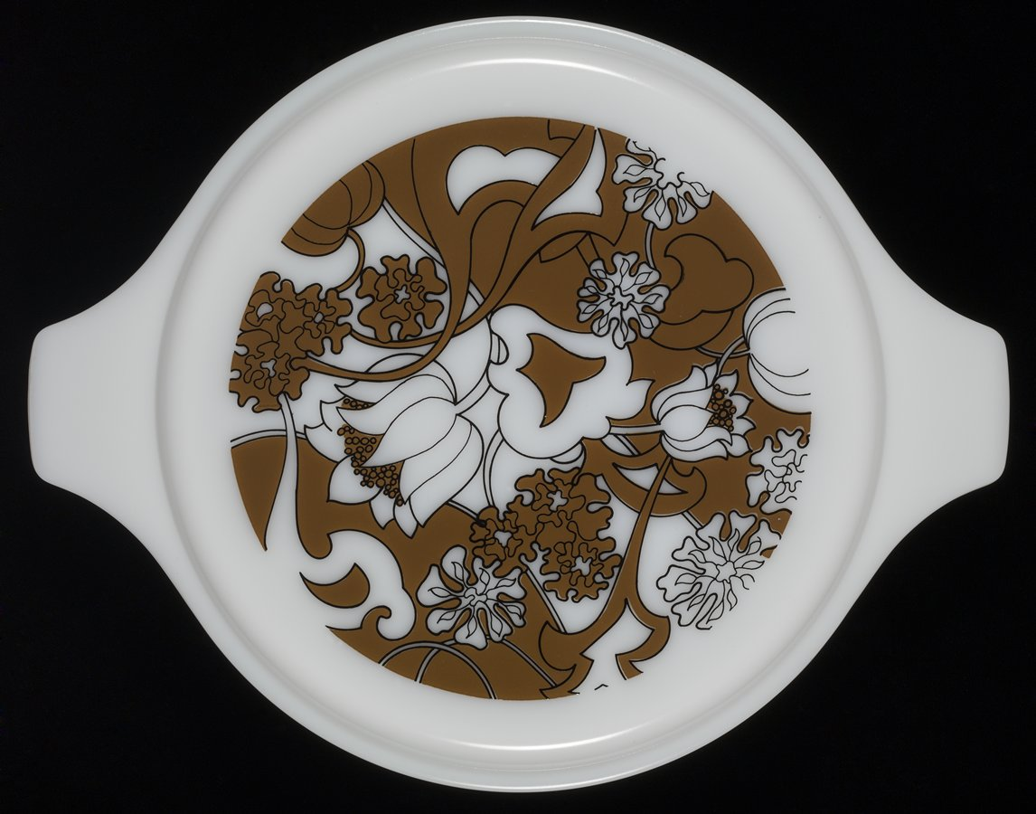 Brown And White Flowers Pyrex