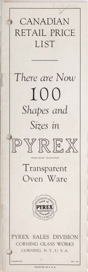 Canadian retail price list: there are now 100 shapes and sizes in Pyrex transparent oven ware