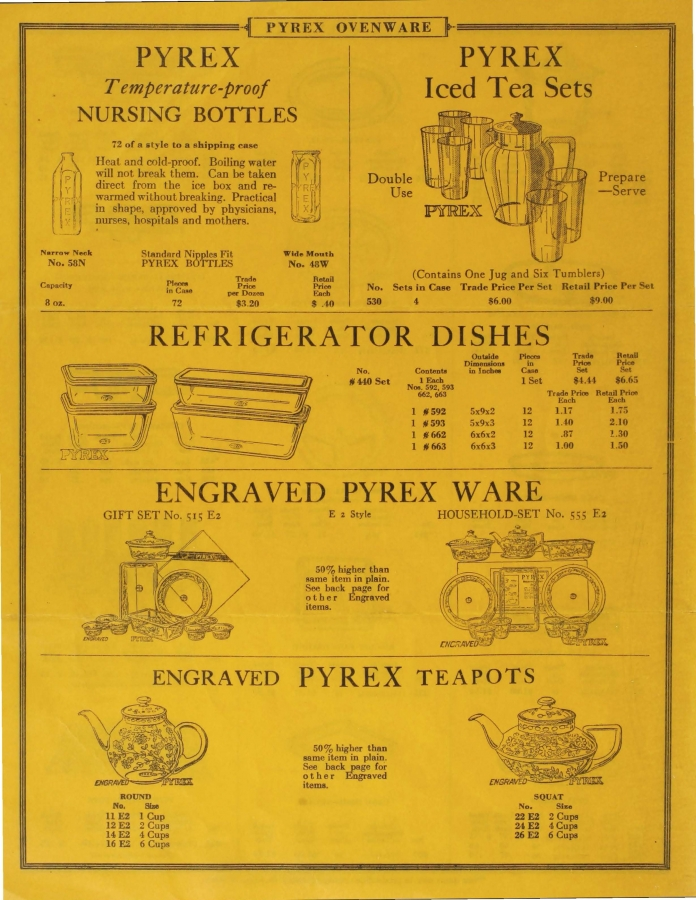 Illustrated price list of Pyrex ovenware, teapots, nursing bottles: Canadian, January 1929