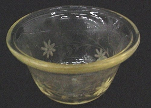 Engraved Pyrex Custard Cup, Corning Glass Works, made in Corning, NY, probably 1917-1925. Gift of Corning Inc., Dept. of Archives and Record Management. 98.4.173