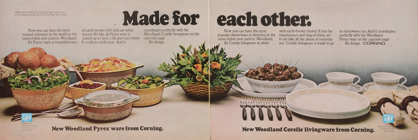 """""""Made for each other."""" Pyrex ware advertisement"""