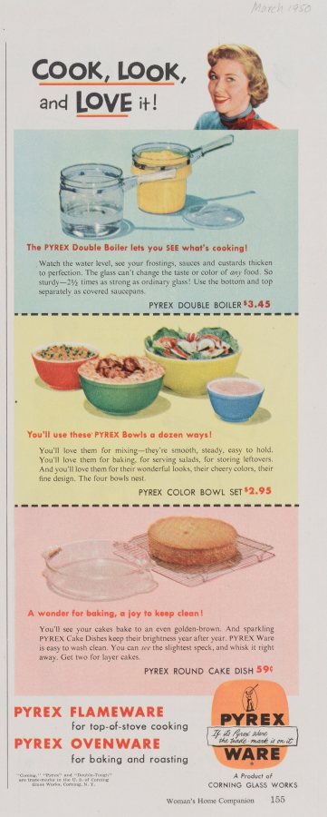"""Cook, look, and love it!"" Pyrex advertisement"