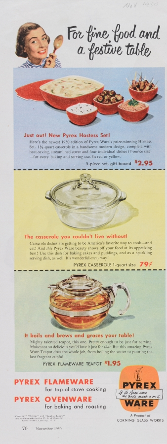 """""""For fine food and a festive table."""" Pyrex advertisement"""