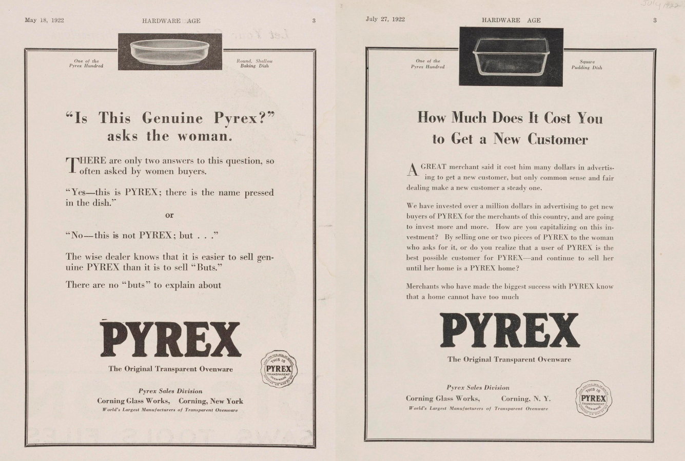 Pyrex advertisements from Corning Glass Works/Hardware Age