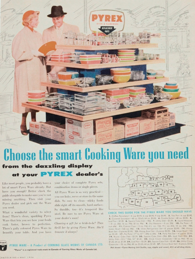"""""""Choose the smart cooking ware you need: from the dazzling display at your Pyrex dealer's."""""""