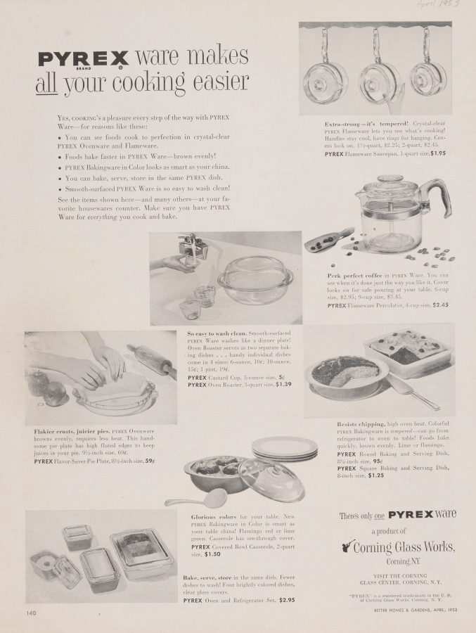 """Pyrex ware makes all your cooking easier."""
