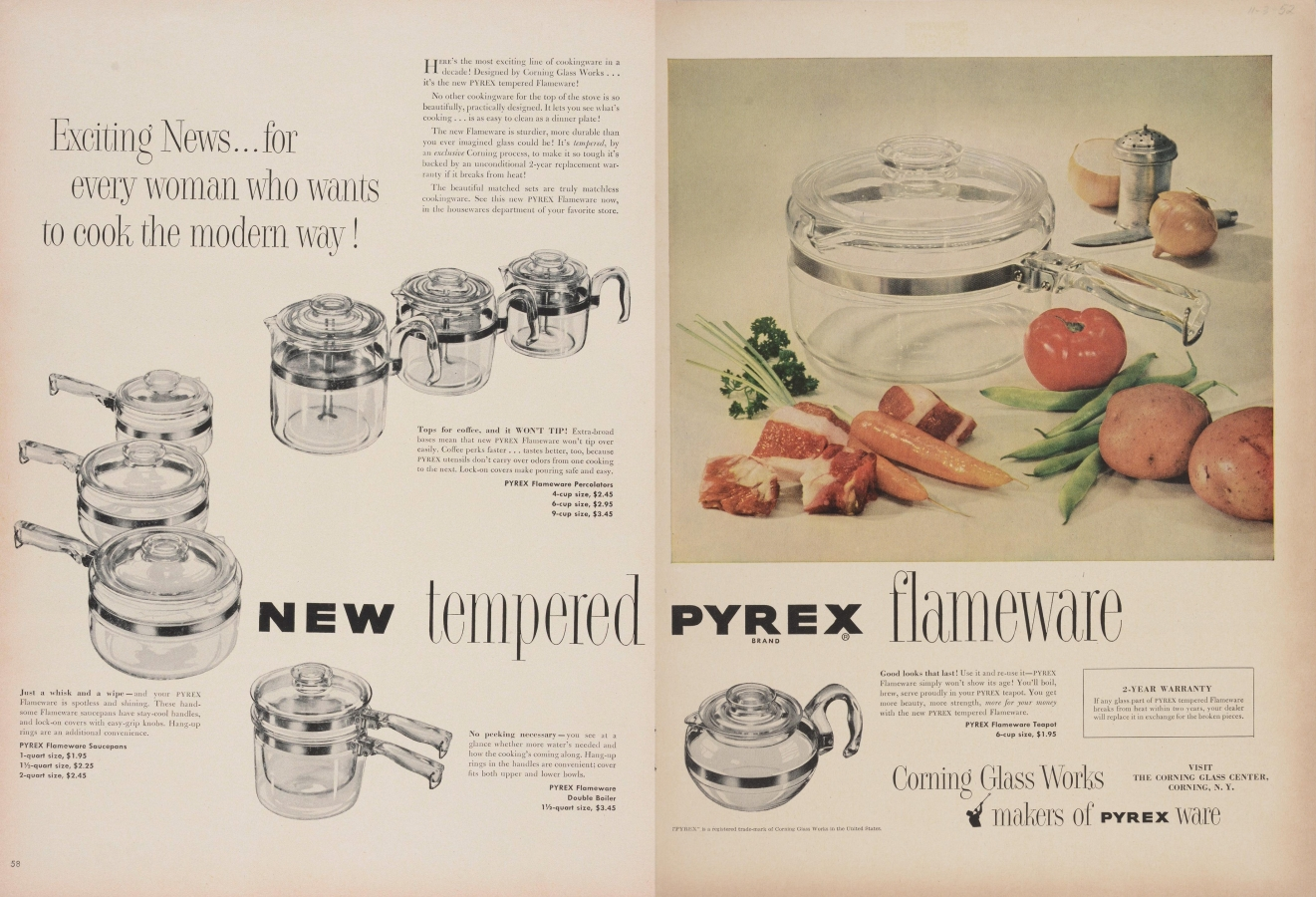 """Exciting news... for every woman who wants to cook the modern way! New tempered Pyrex flameware"""