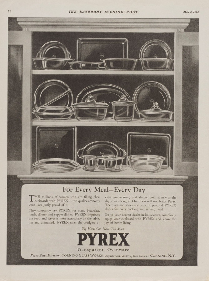 """For every meal, every day."" Pyrex advertisement"
