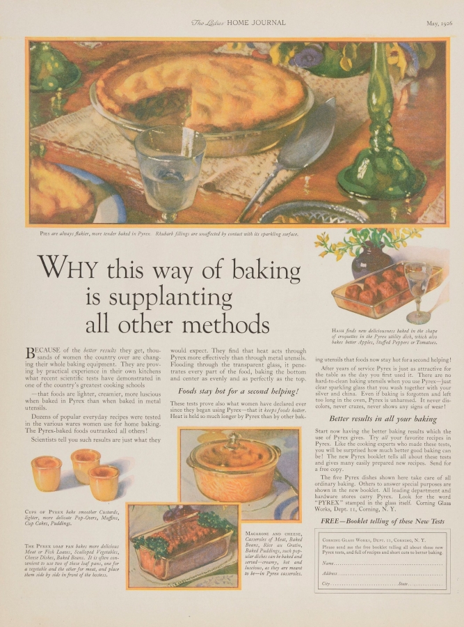 """Why this way of baking is supplanting all other methods."" Pyrex advertisement"