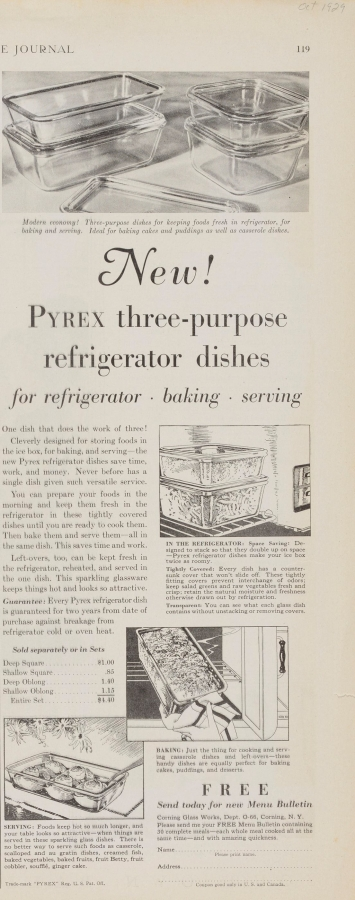 """New! Pyrex three-purpose refrigerator dishes: for refrigerator, baking, serving."""
