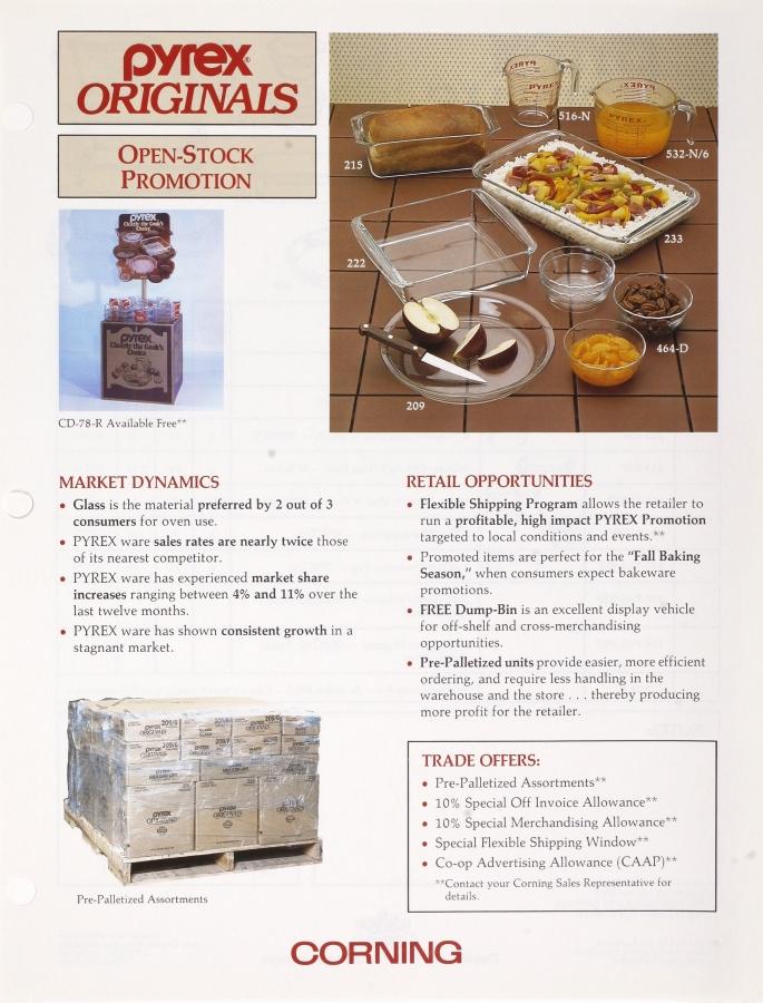 """Pyrex Orignals: open stock promotion"""