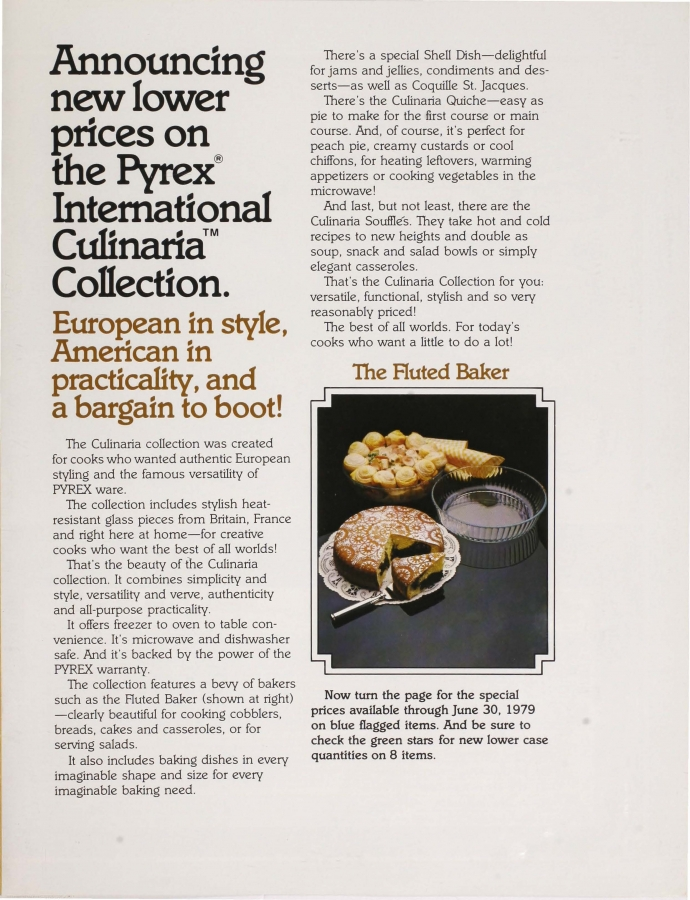 Page 3 of Good Taste Costs Less: International Culinaria Pyrex collection.