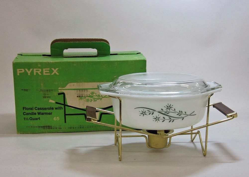 "Pyrex ""Floral"" 1-1/2 Quart Casserole with Warmer in Original Box"