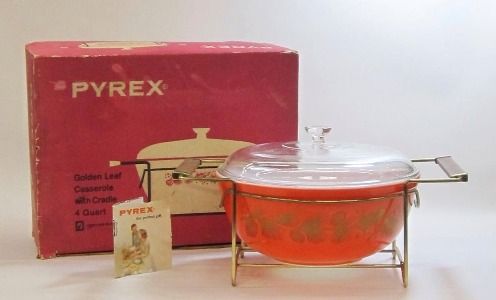 "Pyrex ""Golden Leaf"" 4 Quart Casserole with Cradle in Original Box"