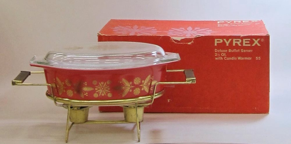 "Pyrex ""Golden Poinsettias"" 2-1/2 Quart Deluxe Buffet Server in Original Box"