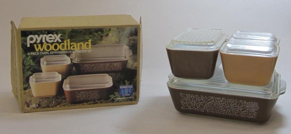 refrigerator box. pyrex \u201cwoodland\u201d oven/refrigerator/freezer set in original box refrigerator
