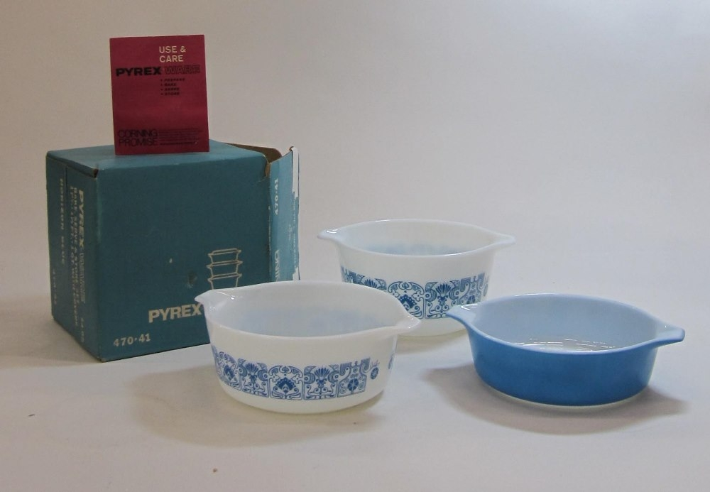 "Pyrex ""Horizon Blue"" Casserole Set in Original Box"