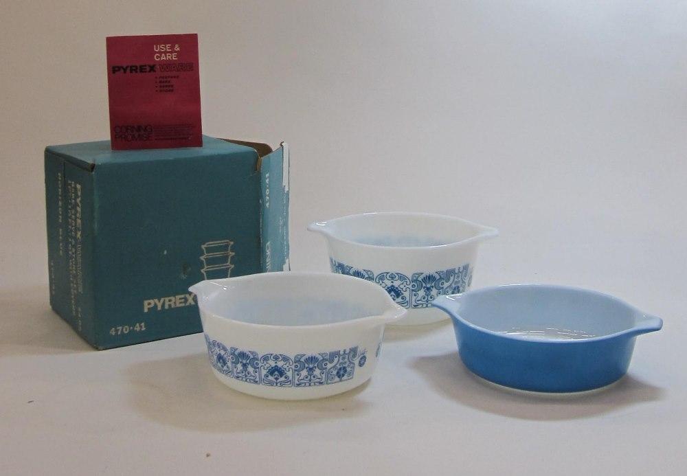 "Pyrex ""Horizon Blue"" Casserole Set in Original Box"
