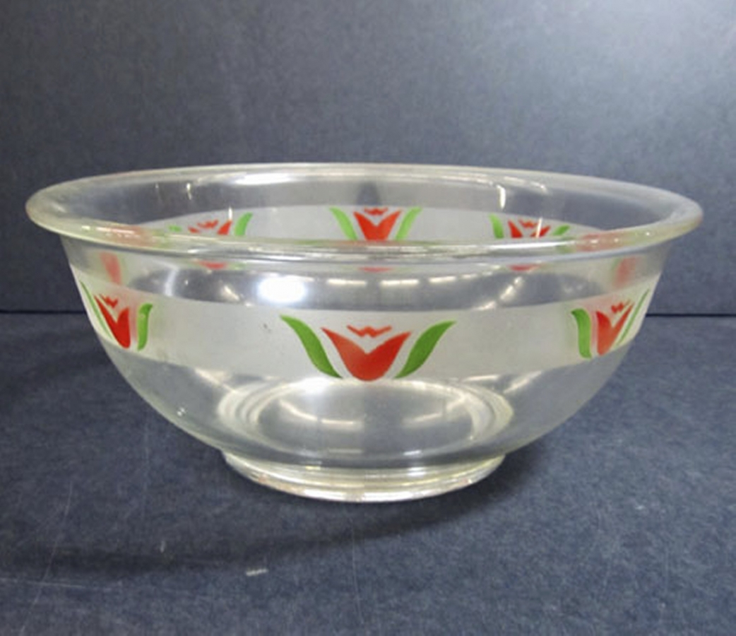 Pyrex Mixing Bowl with Red Tulip Decoration