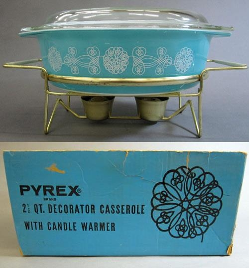 """Pyrex """"Lace Medallion"""" 2-1/2 Quart Casserole with Lid, Stand, and Box"""
