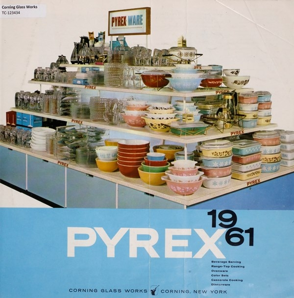 Pyrex 1961: beverage serving, range-top cooking, ovenware, color sets, casserole cooking, dinnerware.