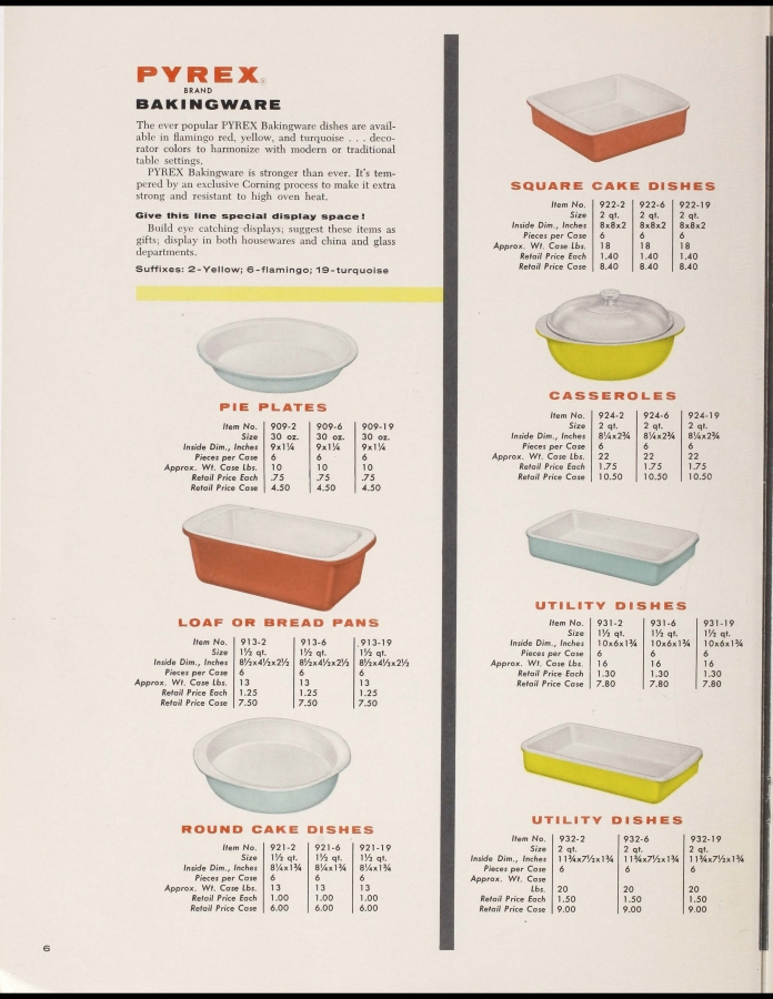 "Page 6 from ""1956 Pyrex dealer catalog : Flameware, Ovenware, bakingware, dinnerware, nursing units, measures, tumblers"""