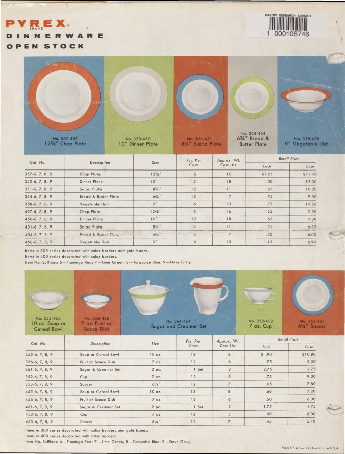 "Page 4 from ""1955 dealer catalog for Pyrex dinnerware"""