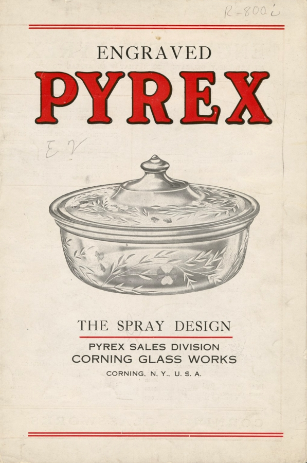 Engraved Pyrex: The Spray Design. Corning Glass Works. Pyrex Sales Division, Corning, NY, USA, probably 1918. CMGL 57107.