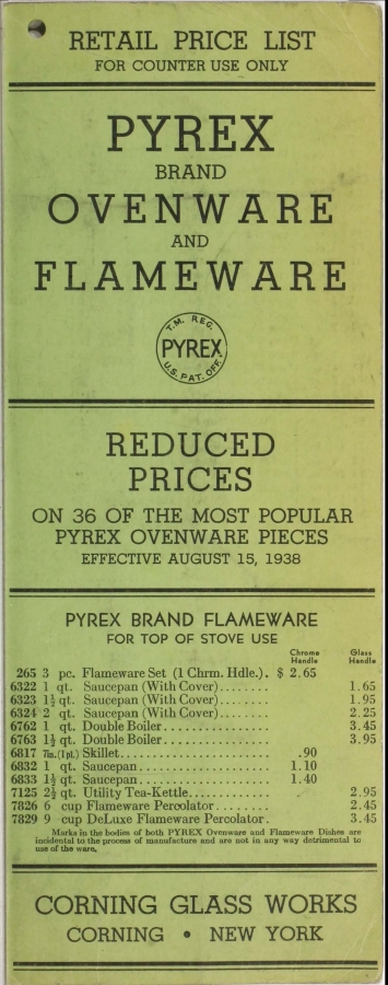 """Retail price list: Pyrex brand and Corning brand ware"""