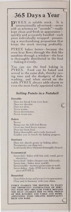 Page 2 from Standard price list, January 1st, 1924: Pyrex oven ware, tea pots, nursing bottles