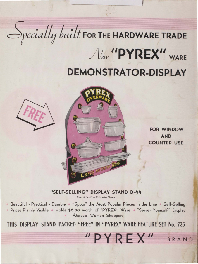 "Page 1 from Special promotion for the hardware trade: ""Pyrex"" brand ovenware"