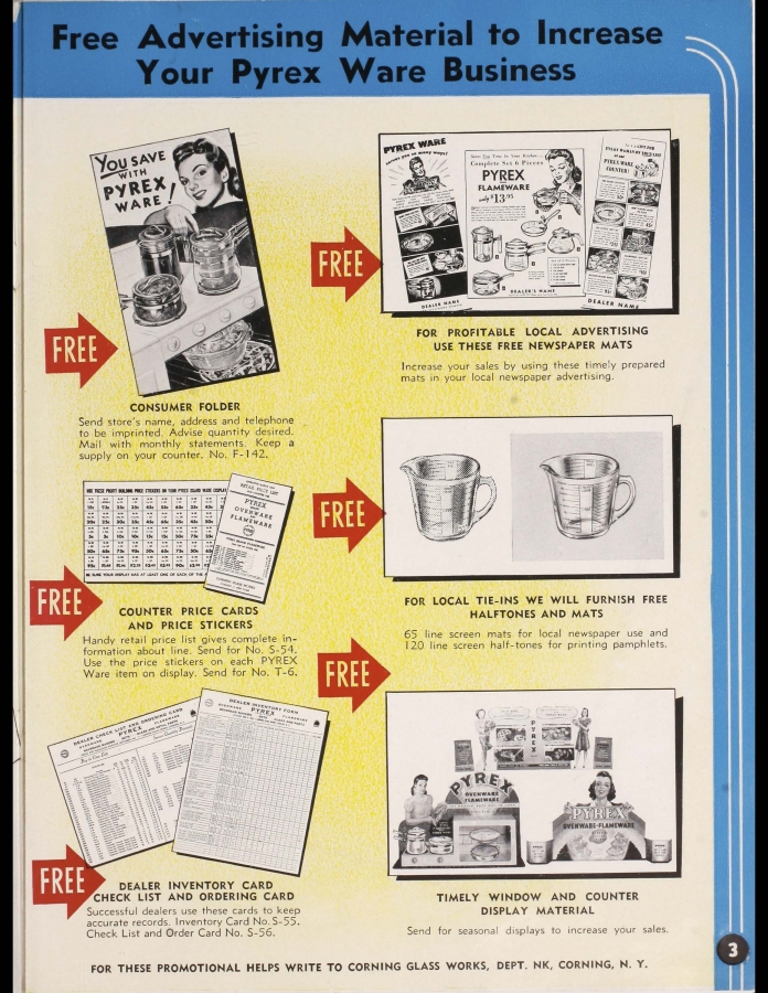 """Page 3 from """"Pyrex brand Ovenware-Flameware : catalog for your counter, May 1943"""""""