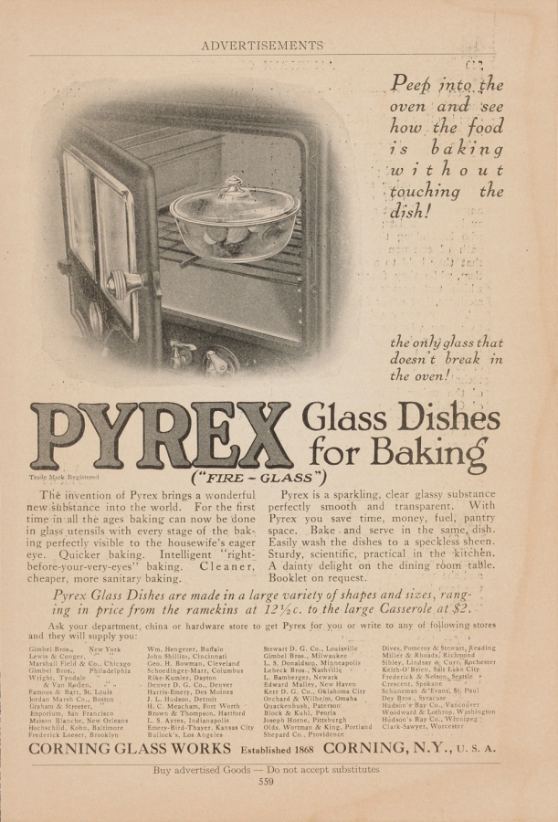 """Peep into the oven and see how the food is baking without touching the dish!"" Published in American Cookery, probably February 1916. CMGL 140300"