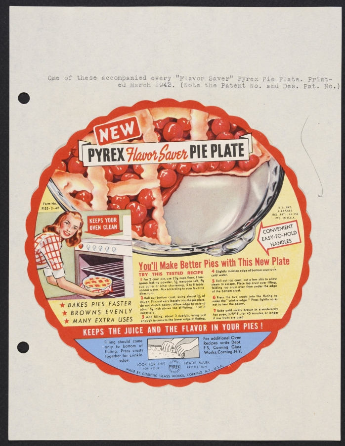 New Pyrex flavor saver pie plate