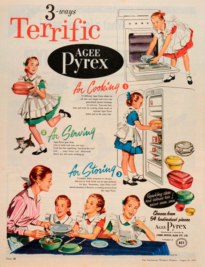 3-ways terrific. Agee Pyrex: for cooking, for serving, for storing