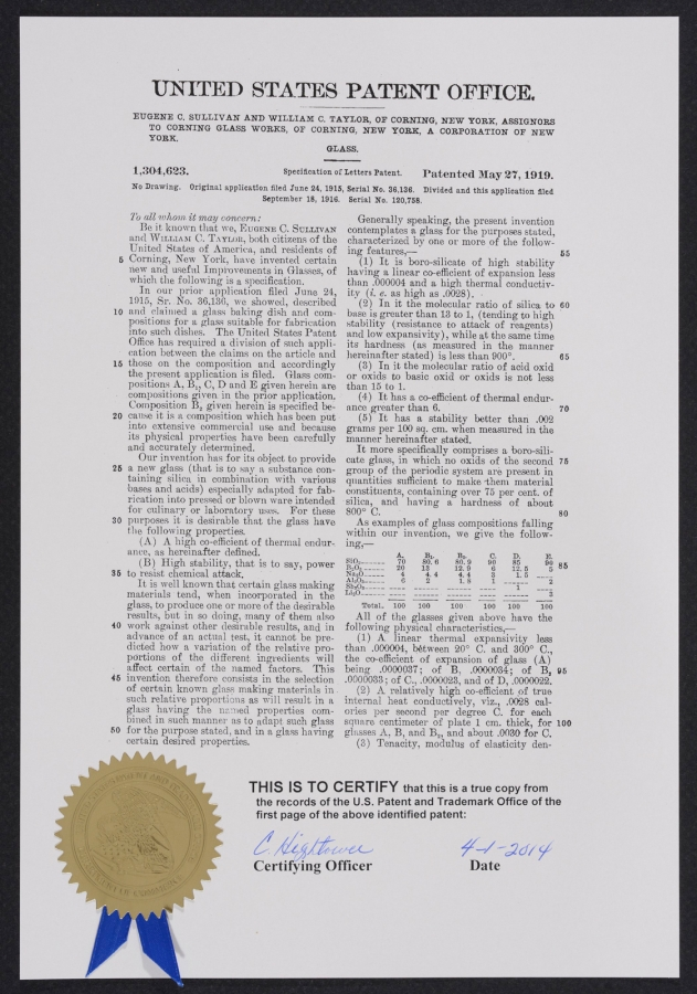 Pyrex patent. Certified copy of presentation patent specification letter dated May 27, 1919 for patent number 1,304,623. Original application for this patent was filed June 24, 1915. U.S. Department of Commerce, Patent & Trademark Office. CMGL 139156.