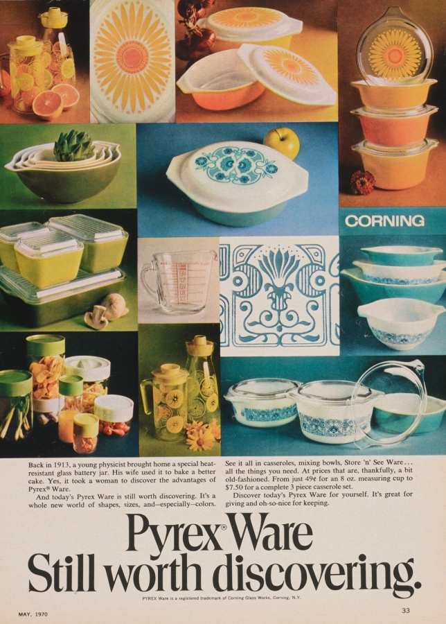 Advertisement features assortment of Pyrex ware patterns in yellow and orange, lime green, and blue. Patterns include Horizon, Daisy, and Verdé. A clear measuring cup is featured near the center. Casseroles, mixing bowls, Store 'n See ware, refrigerator