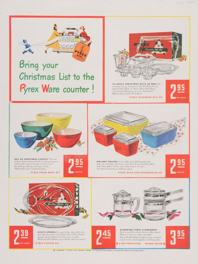 Bring your Christmas list to the Pyrex ware counter!