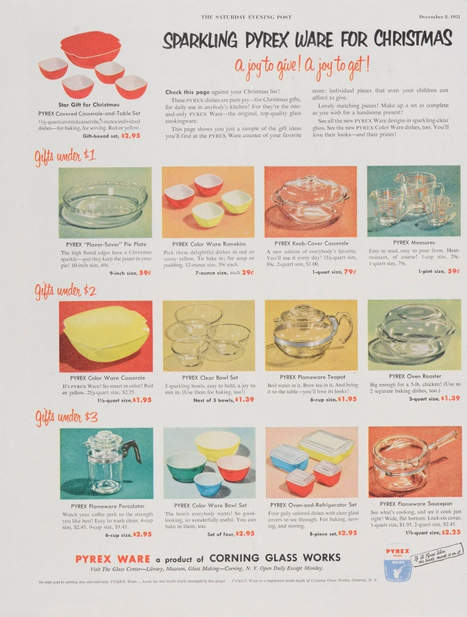 Sparkling Pyrex ware for Christmas: A joy to give! A joy to get!