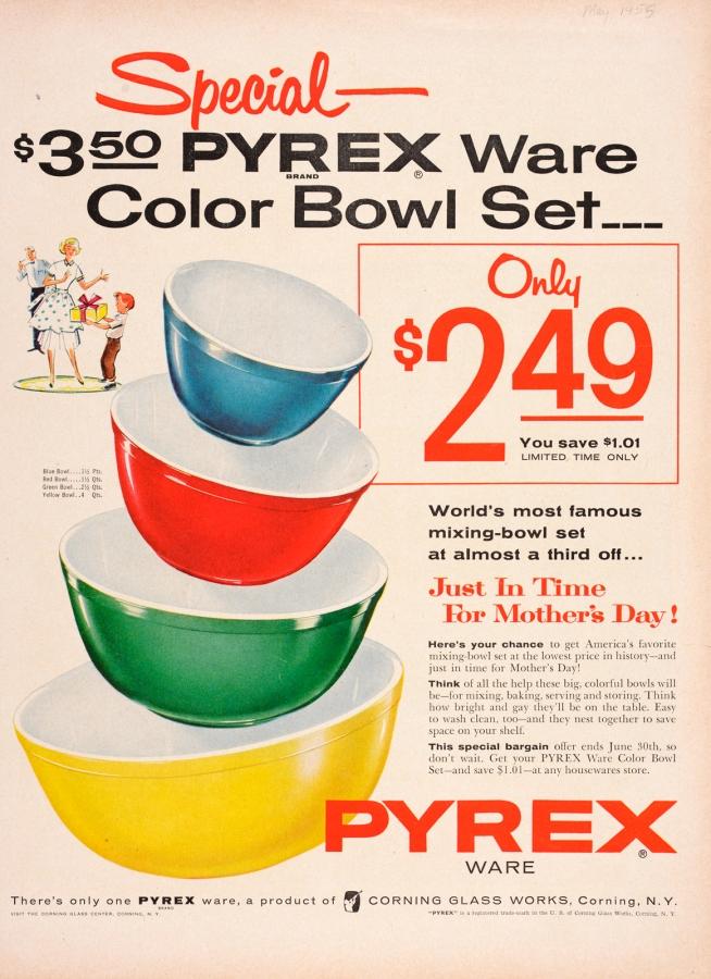 Special--$3.50 Pyrex Ware Color Bowl Set