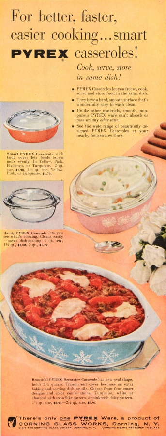 For better, faster, easier cooking... smart Pyrex casseroles!