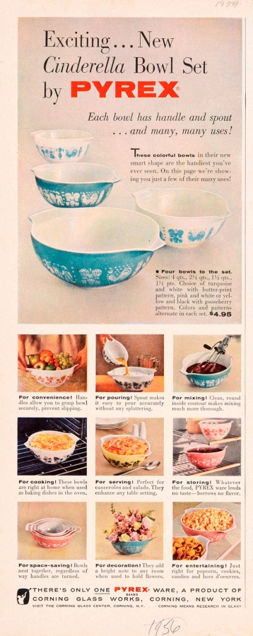 """""""Exciting... New Cinderella Bowl Set by Pyrex,"""" Corning Glass Works, Published in unknown periodical, circa 1956-1957. CMGL 141130"""
