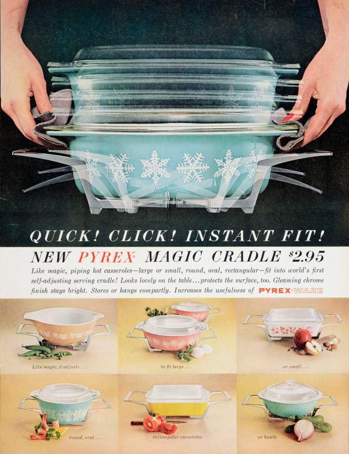 Quick! Click! Instant fit! New Pyrex Magic Cradle $2.95