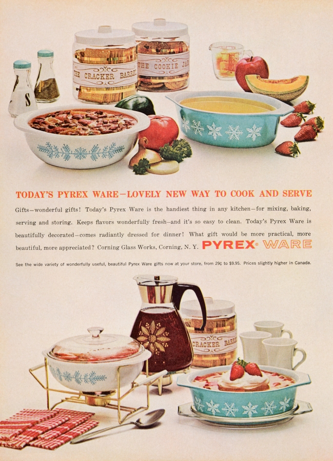 Today's Pyrex Ware—Lovely New Way To Cook And Serve (Snowflake)