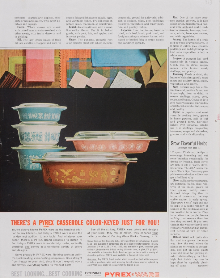 There's a Pyrex casserole color-keyed just for you!