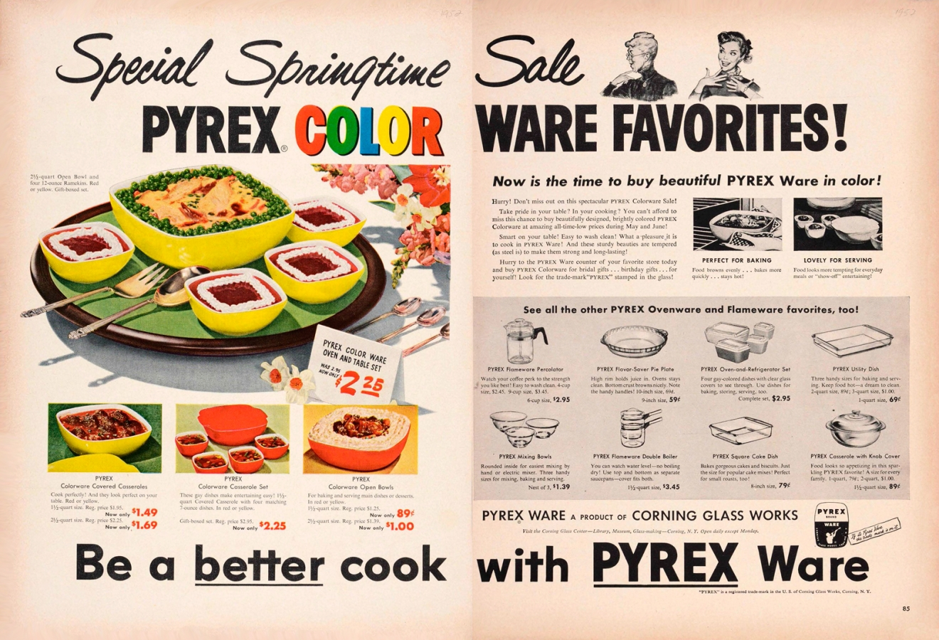 """Special springtime sale. Pyrex color ware favorites!"" Corning Glass Works, Published in unknown periodical, 1952. CMGL 141122"