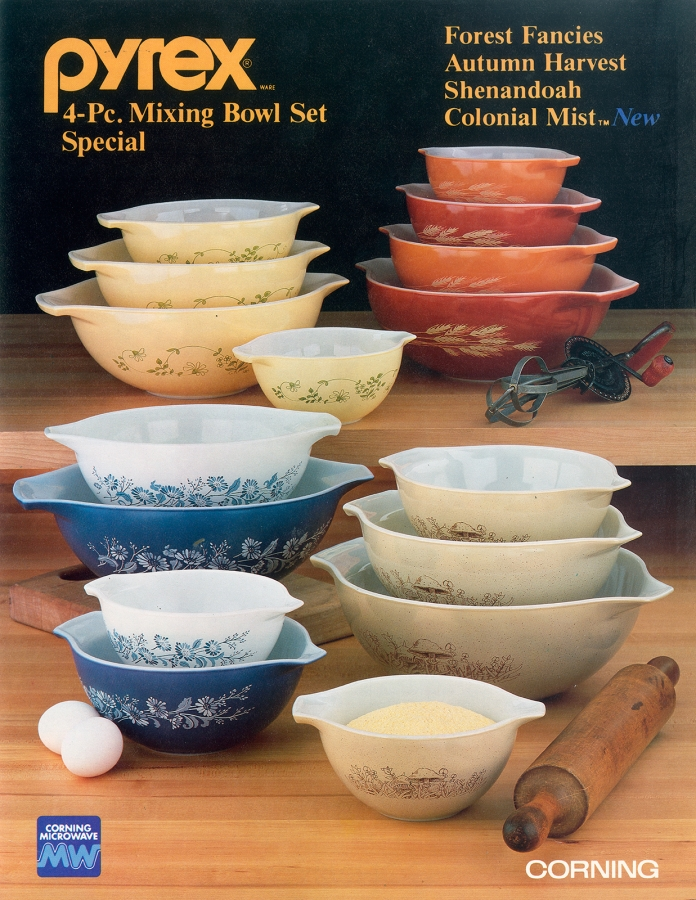 Pyrex 4-Pc. Mixing Bowl Set Special: Forest Fancies, Autumn Harvest, Shenandoah, and Colonial Mist