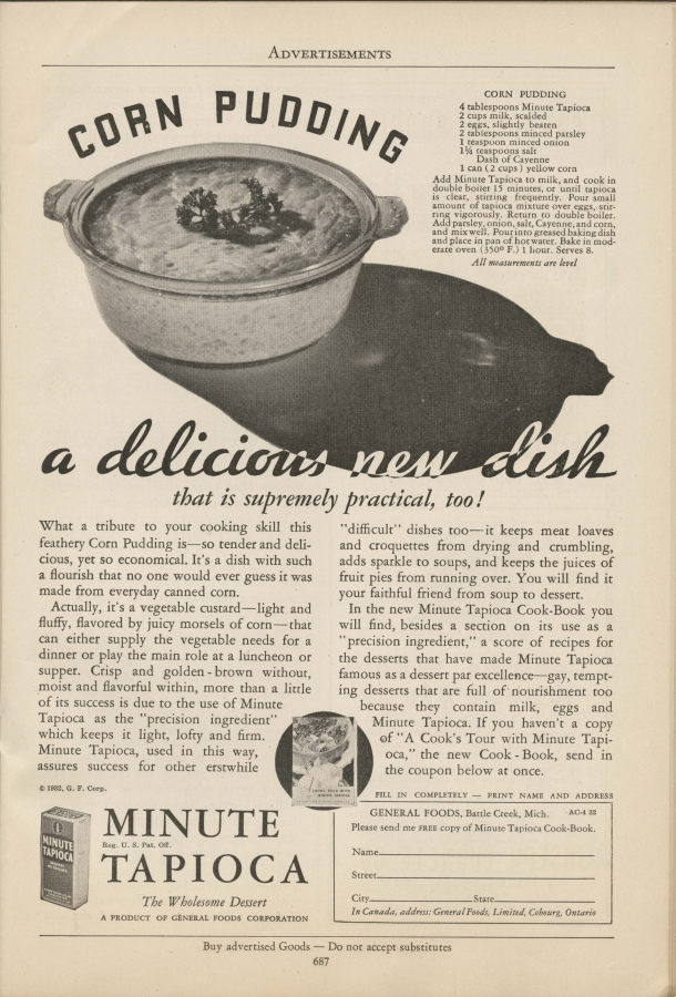 """Corn pudding, a delicious new dish that is supremely practical, too!"" advertisement"