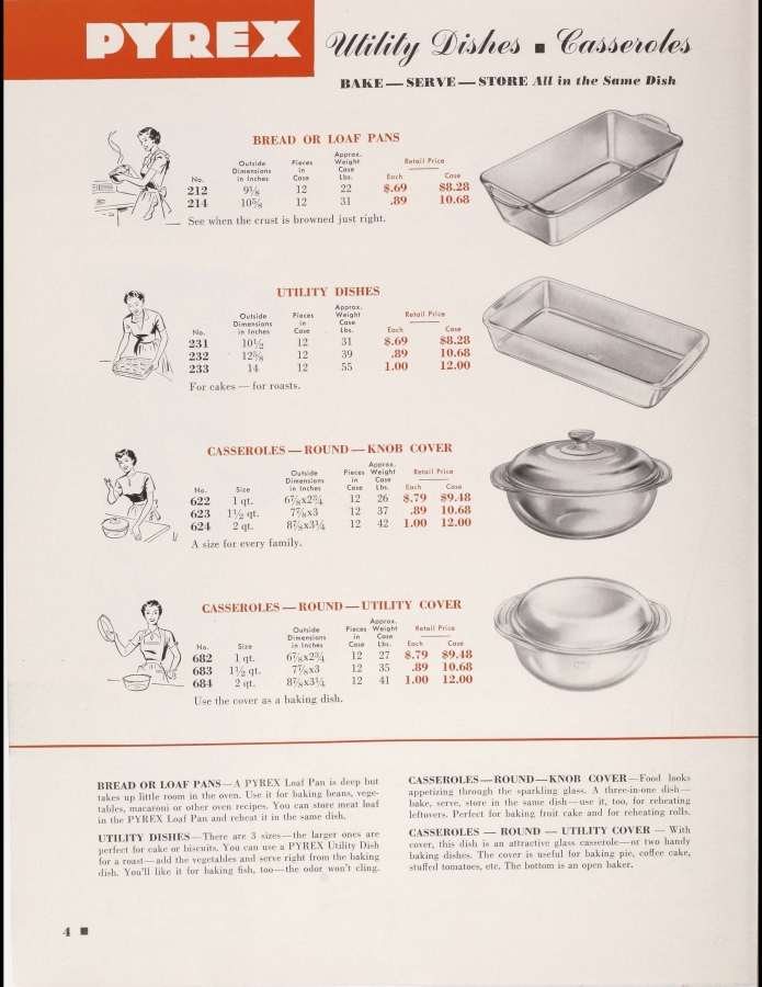 "Page 4 from ""Dealer catalog 1950: Pyrex brand Ovenware, Flameware"""