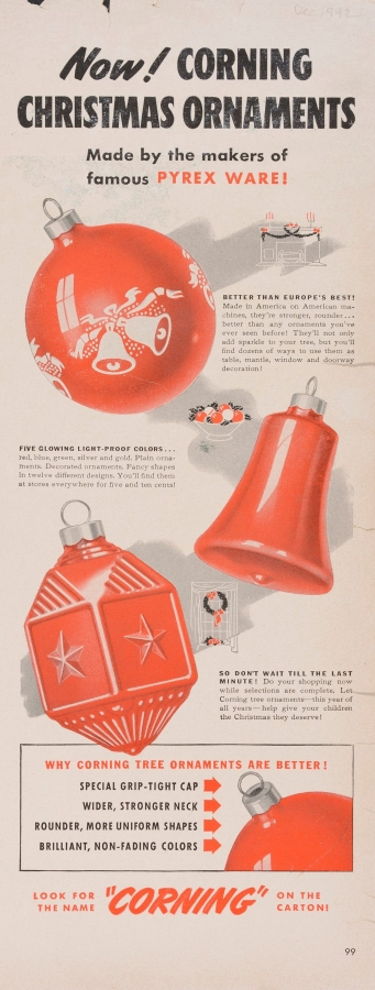 Now! Corning Christmas ornaments made by the makers of famous Pyrex ware!